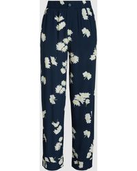 Ganni - Silvery Printed Crepe Trousers - Lyst