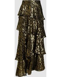 A.L.C. Tiered Gold Foil Maxi Skirt - Black