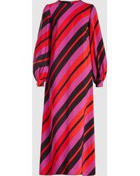 Marni - Striped Crepe Midi Dress - Lyst
