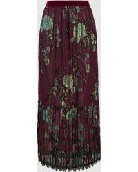 Anna Sui - Iridescent Pleated Fil Coupé Silk-blend Maxi Skirt - Lyst