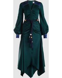 Peter Pilotto - Belted Long-sleeve Satin Dress - Lyst