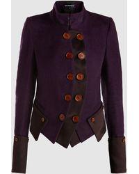 Ann Demeulemeester Button-detail High-neck Cotton Blazer - Purple