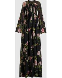 Giambattista Valli Floral Long Sleeve Silk Maxi Dress - Black