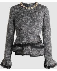 Huishan Zhang - Corine Embellished Ruffled Tweed Top - Lyst