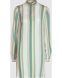 Zeus+Dione Hera High Collar Silk Blend Tunic Shirt - Green