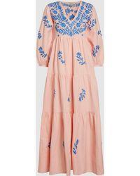 Muzungu Sisters - Frangipani Embroidered Cotton-blend Maxi Dress - Lyst