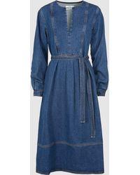 Co. Belted Long Sleeve Denim Midi Dress - Blue