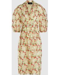 Simone Rocha Floral-embroidered Tulle Coat - Green