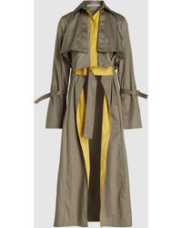 Silvia Tcherassi Sidney Layered Cotton Trench Coat - Green