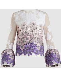 Huishan Zhang - Silvie Belle Sleeve Floral Jacquard Top - Lyst