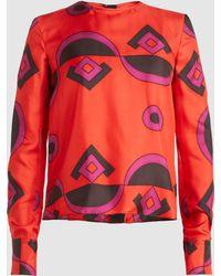 Marni - Geometric Print Silk Blouse - Lyst