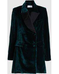 16Arlington Patti Oversized Velvet Tuxedo Blazer - Green