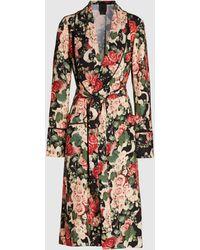 Anna Sui Rose Garland Floral Print Crepe Robe - Multicolour