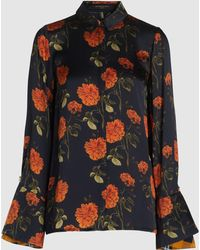 Mother Of Pearl Vera Floral Print Fluted-cuff Silk Blouse - Black