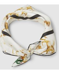 Ganni - Horse Print Silk Scarf - Lyst