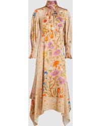 Peter Pilotto Printed Scarf Neck Midi Dress - Multicolour
