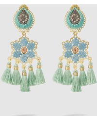 Mercedes Salazar - Hibiscus Menta Fringe Drop Earrings - Lyst