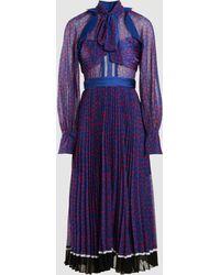 Self-Portrait - Dot Printed Pleated Chiffon Midi Dress - Lyst