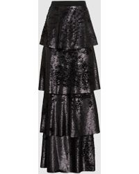 Safiyaa - Payette Tiered Sequinned Maxi Skirt - Lyst