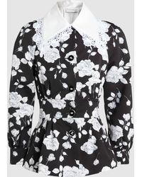 Alessandra Rich - Lace Collar Faille Jacket - Lyst