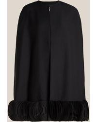 Valentino Scallop Trim Wool-blend Crepe Cape - Black