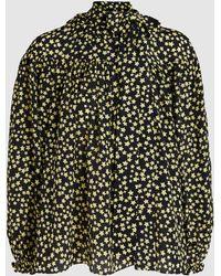 N°21 Star Print Long-sleeve Silk Blouse - Black