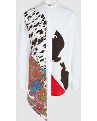 Ports 1961 - Patchwork Print Color-blocked Cotton Shirt - Lyst