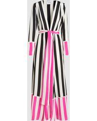 We Are Leone - Contrast Stripe Silk Maxi Robe - Lyst