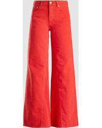 Ganni - Wide Leg Cotton Denim Trousers - Lyst