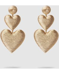 Rebecca de Ravenel Double Heart Rose Gold Drop Earrings - Metallic