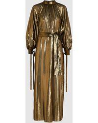 OSMAN Volita Long Sleeve Lamé Dress - Metallic