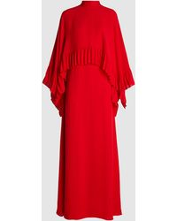 Valentino Mock Neck Overlay Silk Cape Gown - Red