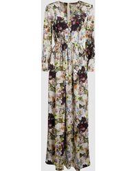 Adam Lippes Floral Silk Crepe Deep V-neck Gown - Multicolour