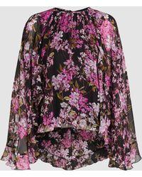 Giambattista Valli Floral Print Cape Back Silk-georgette Blouse - Black