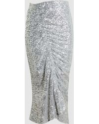 Preen By Thornton Bregazzi - Gemma Ruched Sequinned Midi Skirt - Lyst