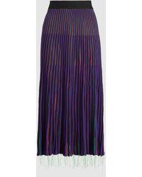 Marni Pleated Satin Midi Skirt - Purple