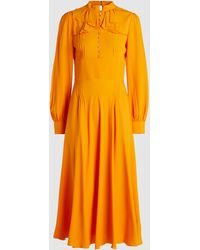 N°21 Ruffled Neck Silk Midi Dress - Yellow