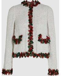 Dolce & Gabbana Lily Appliqué Cotton-blend Cardigan - White
