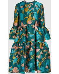 LaDoubleJ Bouncy Tiered Floral Brocade Coat - Blue
