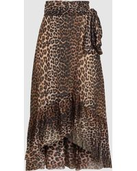 Ganni Leopard Print Mesh Wrap Skirt - Brown