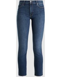 Mother Rascal Ankle Snippet Cropped Jeans - Blue