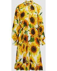 Dolce & Gabbana Sunflower Print Silk Midi Dress - Yellow