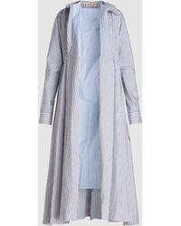 Marni Striped Cotton Duster Coat - Blue