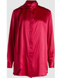 Michael Lo Sordo Pussy-bow Silk-satin Shirt - Pink