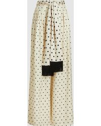 Mother Of Pearl Polka-dot Satin Wide-leg Trousers - White