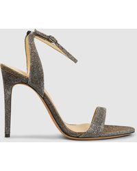 Alexandre Birman - Santine Lamé Heeled Leather Sandals - Lyst