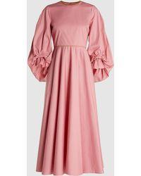 ROKSANDA Fife Balloon Sleeve Cotton Midi Dress - Pink