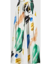 We Are Leone Luke Printed Stretch-silk Satin Pants - Multicolor
