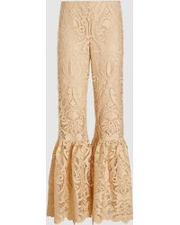 Anna Sui Baroque Lace Flared Pants - White