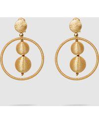 Oscar de la Renta - Double Beaded Ball Hoop Earrings - Lyst